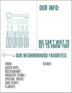 8 Best Images of Welcome New Neighbor Printables - Printable Welcome Neighborhood, Welcome New Neighbor Gift Ideas and Welcome New Neighbor Card New Neighbor Gifts, The Neighbor, Welcome Baskets, Gift Baskets, Welcome New Neighbors, Welcome Wagon, Resident Retention, Neighborhood Association, Welcome Home Gifts