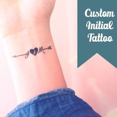 Set of 2 Custom initial arrow temporary tattoo personalized gift - InknArt Temporary Tattoo - fake tattoo wedding tattoo valetines day gift from InknArt Temporary Tattoo - tattoos - Tatouage