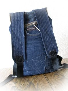 A comfortable jean backpack . Really cute and very functional. Approximate dimensions: 34 cm х 40 cm (13 х 16)  Length of shoulder is changable  My shop https://www.etsy.com/ru/shop/klaptykart?ref=hdr_shop_menu  Thank you! )