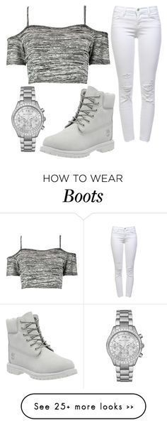 Untitled #1039 by pinkunicorn007 on Polyvore featuring Boohoo, Michael Kors, J Brand and Timberland