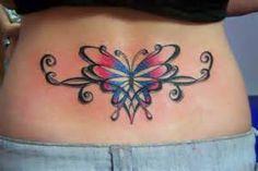 Lower Back Tribal Butterfly Tattoos For Women