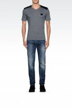 Camiseta Emporio Armani Men's Jersey T-Shirt With Neoprene Details Grey M1T20JM1E3J1999 #Camisetas #EmporioArmani