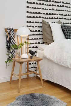 Scandinavian bedroom with 'Half Moon Black' wallpaper by Ferm Living. Love the wallpaper! Scandi Living, Home Living, Living Room, Best Interior Design Blogs, Home Interior, Nordic Interior, Interior Ideas, Home Bedroom, Bedroom Decor
