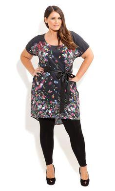 City Chic - FLORAL GARDEN TUNIC - Women's plus size fashion