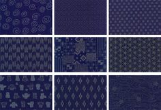 JAPANESE INDIGO FABRIC: 9 FQ Designs (2 1/4 YDS)