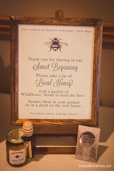 DIY Honey Jar Wedding Favors {Wedding Wednesday} When we first started talking about wedding favors there were lots of ideas that came to mind. We wanted something local, that was a treat and allergen-free. That's when the idea of local hon… Wedding Favors And Gifts, Wedding Favour Jars, Honey Wedding Favors, Creative Wedding Favors, Inexpensive Wedding Favors, Elegant Wedding Favors, Wedding Ideas, Handmade Wedding, Wedding Inspiration