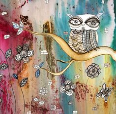 """SURREAL OWL I"" MAGICAL Owl Painting - Abstract - Decor - Whimsical - Fantasy art -by Surreal Visionary mixed media artist C.Cambrea for $39 - He comes ready to hang :)"