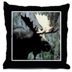 Rustic Moose Throw Pillow