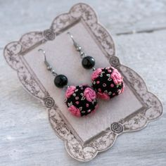 Needle felted and embroidered rose earrings in by NettesRoseGarden, $28.00
