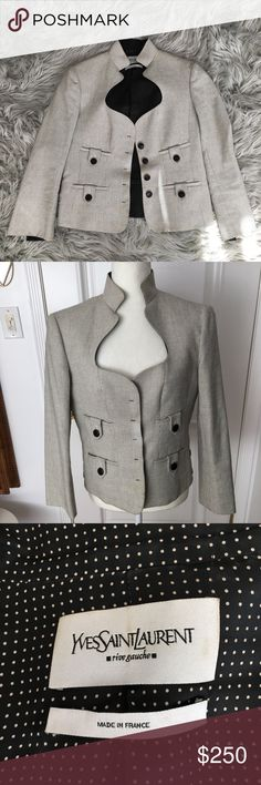 YVES SAINT LAURENT RIVE GAUCHE JACKET Authentic YVES SAINT LAURENT RIVE GAUCHE jacket. Beautiful Cream color detailed with black on the outer and reverse print inside. Has 4 buttons front closure, 4 front pockets each with 1 buttons and 2 buttons on each side. French size 42(US 10), 100% cotton outer w/Fodera lining. Great condition just needs dry cleaning. Yves Saint Laurent Jackets & Coats Blazers