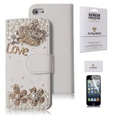 ArmyBee inc Apple iPhone 5 5S Bling Crystal 3D Love Crown Premium PU White Leather Flip Wallet Case With Card Holder Design for Girls (Fits:Apple iPhone 5 And The New 5S(2013 Version), Package includes: 1 X ArmyBee Screen Protector):Amazon:Cell Phones & Accessories