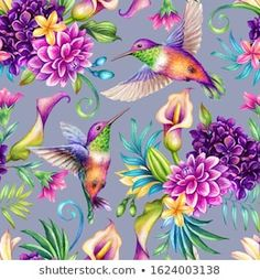 Precious Tips for Outdoor Gardens - Modern Tropical Flowers, Plumeria Flowers, Tropical Birds, Floral Flowers, Illustration Botanique, Botanical Illustration, Watercolor Illustration, Violet Background, Watercolor Background