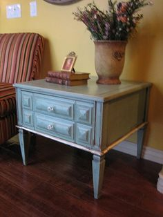refinished blue-green end table