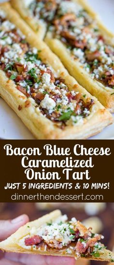 Bacon Blue Cheese Caramelized Onion Tart with just five ingredients total, it is the perfect easy appetizer for a party that can be prepped and frozen ahead of time so you can just bake right before your party! TisTheSeasonsPromo AD by naomial Appetizers For A Crowd, Yummy Appetizers, Appetizer Recipes, Easy Party Appetizers, Frozen Appetizers, Puff Pastry Appetizers, Appetizer Dessert, Dinner Recipes, Caramelised Onion Tart