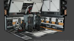 "Concept art of synthetic storage units from ""Alien: Isolation"" (2014)."
