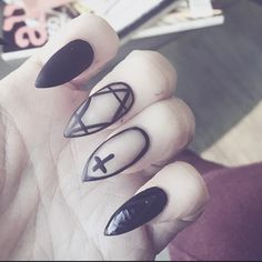 Not the cross. Same pattern as middle finger Get Nails, Hair And Nails, Gothic Nail Art, Witch Nails, Nailart, Dark Nails, Artificial Nails, Stiletto Nails, Pointed Nails