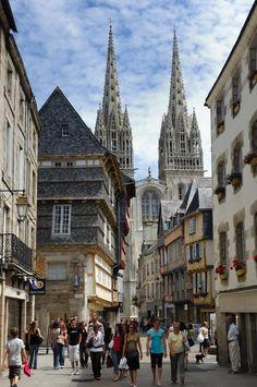 Bretagne - Finistère - Quimper - Rue Kéréon - Cathedrale | Finistère | Bretagne…