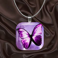 Magenta Butterfly Glass Tile Pendant with by UnderCoverOfLightnes, $10.00