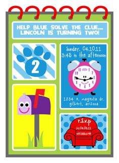 Blues Clues Printable Birthday Party by FreshChickDesigns on Etsy, $15.00 Definitely using this!