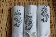 Black Seahorse print Swaddling Sheets by MangoGroveDesigns on Etsy