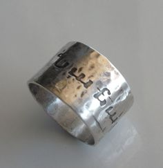 Armenian Name Ring in Sterling Silver Cigar Band Style Ring.  Etchedinmetal.etsy.com