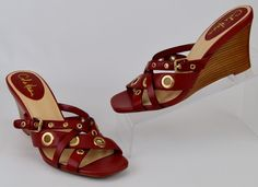 Cole Haan Women's Size 8 M Red Leather Brass Rivet Wedge Slides Sandals #ColeHaan #Slides #Casual
