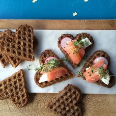 Rye Heart Waffles With Salmon recipe by Eat My Heart Out Food N, Good Food, Food And Drink, Yummy Food, Tasty, Tapas Recipes, Snack Recipes, Healthy Recipes, Healthy Foods