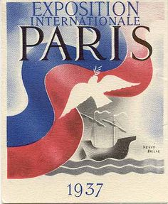 "Advertising card ""Exposition Internationale Paris, #1937."" Signed Hervé Baille."