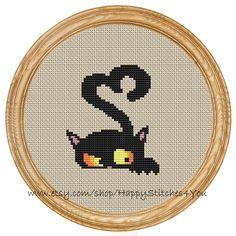 Cruz gato corazón de puntada patrón PDF por HappyStitches4You