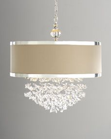 """""""FASCINATION"""" CHANDELIER Drum shade with chrome-finished metal bands surrounds free-falling crystals to bring an unmistakable style to your setting. Imported. Uses t... 22""""Dia. x 23""""T with 7'L chain."""