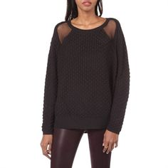 French Connection Women's Contemporary Wool-Blend Feather Knit Sweater