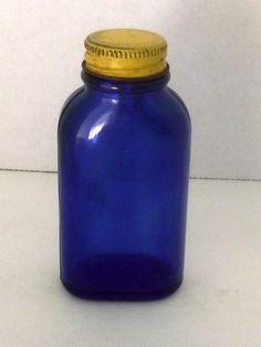 Phillips Blue Bottle Cobalt Tablets Milk Magnesia Yellow Lid Cap Vtg FREE SHIP