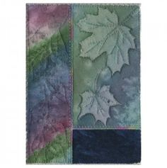 Blue Maple Sunprint with Rainbow Art Quilt- 5x7 | AndrusGardensQuilts - Quilts on ArtFire On sale through 3-2-2014, Save $7.50!