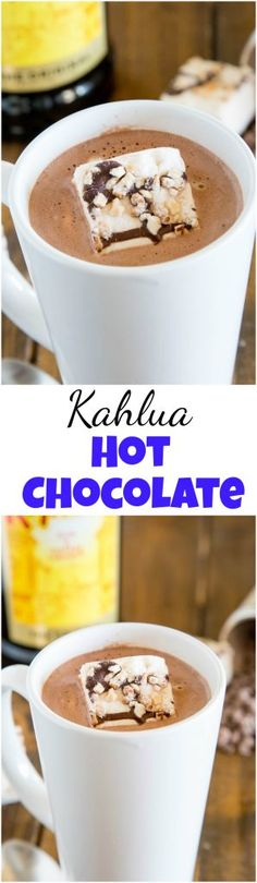 Kahlua Hot Chocolate - warm up with this easy homemade hot chocolate that is spiked with Kahula! Perfect after a day on the slopes or just because you want a special treat! Spiked Hot Chocolate, Homemade Hot Chocolate, Hot Chocolate Recipes, Chocolate Party, Chocolate Heaven, Chocolate Chocolate, Cocktail Party Food, Party Food And Drinks, Cocktail Recipes