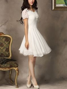 White Lace Chiffon Dress- Adorable!  I would love to see this in more colors.