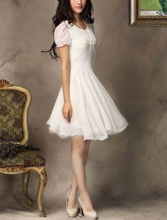 White Lace Dress - White Lace Chiffon Dress
