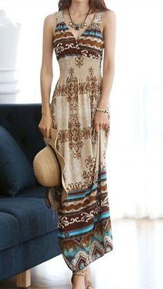 Bohemian Style V-Neck Floral Pattern Crochet Flower Color Block Women's Dress