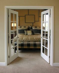 bedroom with interior french doors privacy - Google Search