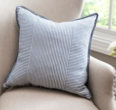 The classic pattern and finish on this Blue Striped Whipstitch Pillow makes it a staple in any space. Modern Throw Pillows, Decorative Pillows, Cheap Pillows, Diy Pillows, Little Boys Rooms, Kirkland Store, Nautical Pattern, Home Decor Sale, Pillow Reviews