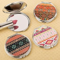 Delightful Aztec Design Compact Mirror- Delight the ladies with these fabulous Aztec design compact mirrors when they come to your party. They are on trend, fun and fashionable, perfect to show off at the next lunch event! Our mirrors are crafted fro Spa Party Favors, Wedding Favors, Retreat Gifts, Women's Retreat, Air B And B, Aztec Designs, Manicure Set, Mirror Set, Birthday Favors