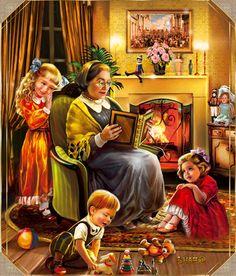 Картинка gif Бабушка читает сказку