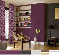 Grape Juice Purple Living Room with charcoal wall.