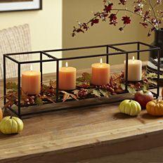 Autumn splendor centerpiece, orange pillar candles, fall leaves, pumpkins  #partylite #candles #centerpiece