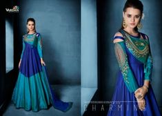 Vardan Designer Navya Vol 8 Silk Anarkali Party Wear Embroidered Indian Women Traditional Fashion Attractive Look Fully Stitched Occasionally Long Dress Wholesale Supplier from Surat - Full Set Price - INR Wedding Salwar Kameez, Latest Salwar Kameez, Designer Gowns, Indian Designer Wear, Designer Kurtis, Traditional Fashion, Traditional Outfits, Anarkali Dress, Anarkali Suits