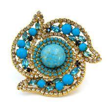 Vintage HATTIE CARNEGIE Signed 1960s Blue Art Glass Rhinestone Brooch Pin