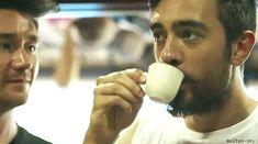 Kyles first coffee <<< dan looks so concerned haha