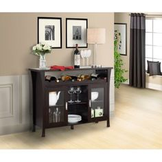 Kings Brand Furniture Espresso Finish Wood Wine Rack Buffet Server