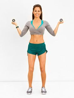 Atas  Targets shoulders, triceps    (At a squat to make a compound exercise)      Stand with feet shoulder-width apart, holding a 3- to 5-pound dumbbell in each hand, palms up, with elbows bent by ribs and forearms pointing diagonally up out to sides  Slightly extend arms as you raise elbows to shoulder level. Lower to start.