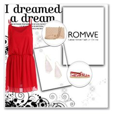 """""""Romwe Red Dress"""" by zoe-keredy ❤ liked on Polyvore featuring Kendra Scott, Chanel and Philipp Plein"""
