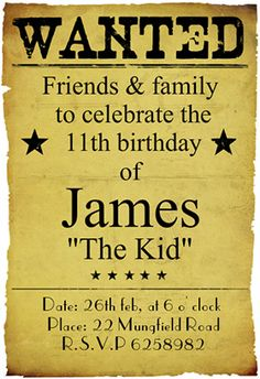 """Western birthday party"" printable invitation. Customize, add text and photos. print for free!"